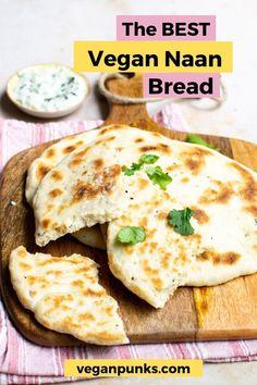 Vegan Indian Recipes, Vegan Baking Recipes, Best Vegan Recipes, Fall Recipes, Cooking Recipes, Vegan Naan, Vegan Bread, Vegan Food, Healty Dinner