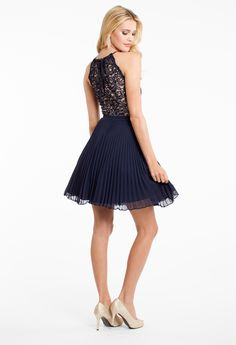 Two Tone Lace with Pleated Skirt Dress #camillelavie