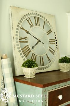 milk painted metal clock from Hobby Lobby @Miss Mustard Seed
