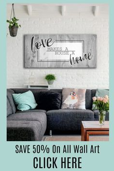 Love Makes A House A Home, Stunning Wall Art, Wood Frame, Ready To Hang, Home Decor