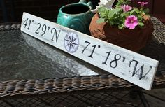 Beach Nautical Sign Custom Latitude and Longitude  Wall Decor Vintage Style Nursery. $29.99, via Etsy.