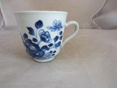 18TH CENTURY BOW? BLUE & WHITE CUP  This is a good condition and early pedestal cup by Bow? porcelain.    It is decorated all the way round    This measures 3 inches high and has a deep pedestal base rim.   A good and clean example.  £72.00