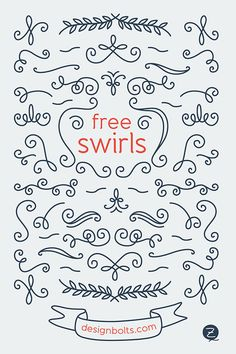 10 Extremely Useful Awesome Freebies for Graphic Designers Free-Decorated-Swirls-for-Letterers-&-designers Cricut Svg Files Free, Cricut Fonts, Cricut Vinyl, Inkscape Tutorials, Cricut Tutorials, Cricut Ideas, Freebies, Cricut Craft Room, Free Graphics