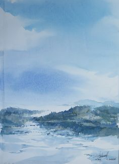 aquarelle paysage, LAMOURA, haut jura  Raymond Guibert 2015