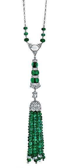 Art Deco Diamond Emerald And Pearl Tassel Sautoir, USA 1915-1935.