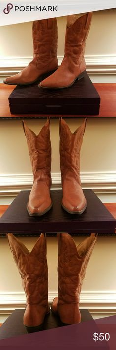 Nine West Western Cowgirl Boot This beautiful western boot is brand new and still in its original box. The color is brown and it is a size 10. The boot has a stitched decorative design. Nine West Shoes Ankle Boots & Booties