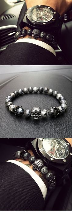 Mens Skull Bracelet With Natural Grey Stone Beads – Jewelery Skull Bracelet, Bracelet Watch, Bracelets For Men, Fashion Bracelets, Leather Bracelets, Beaded Jewelry, Beaded Bracelets, Men's Jewelry, Style Masculin