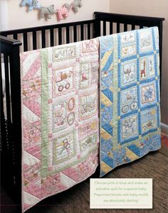 Adorable baby quilts (for a boy and for a girl). Free pattern and instructions here: http://www.fonsandporter.com/articles/sugar_biscuits_free_baby_quilt_pattern?bc=c