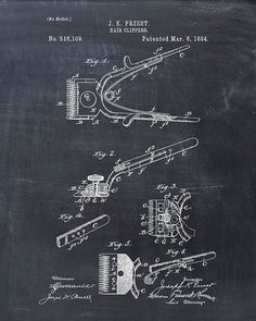 This is a print of the patent drawing for a barber's hair clipper patent from The original patent has been cleaned up and enhanced to create an attractive display piece for your home or office…MoreMore Chalkboard Decor, Chalkboard Print, Barber Gifts, Barber Man, Barber Shop Decor, Patent Drawing, Wall Decor Pictures, Vintage Wall Art, Patent Prints