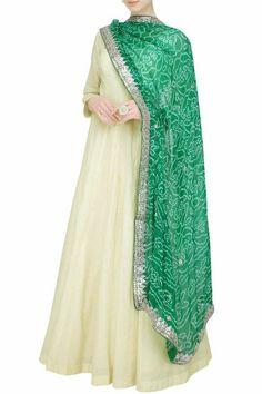 Off White Party Wear Long Anarkali Salwar Suit With Green Designer Dupatta.