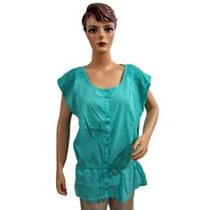 Womens Summer Fashion Turquoise Blue Tunic Top Cotton Blouse Xl Size (Apparel)  http://www.amazon.com/dp/B007Y3DNBY/?tag=tonebe10ne-20  #AMAZING