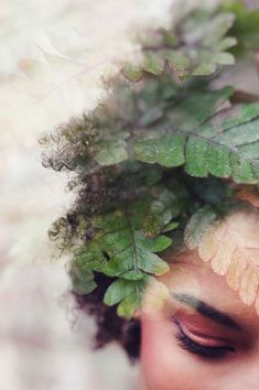 Double exposure photograph portrait of a girl with ferns