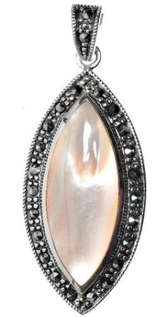 925 Sterling Silver Marquis Shaped Mother of Pearl  Romantic Marcasite  Pendant-geetelic - $ 56.99