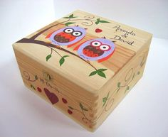 Wedding or Anniversary Memory Keepsake Box. Extra large, hand painted, personalised wooden box.