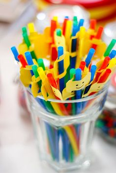 Fun straws at a Lego Birthday Party! Lego Movie Party, Lego Themed Party, Ninjago Party, Lego Birthday Party, 6th Birthday Parties, Birthday Ideas, Lego Birthday Invitations, Lego Parties, Lego Ninjago