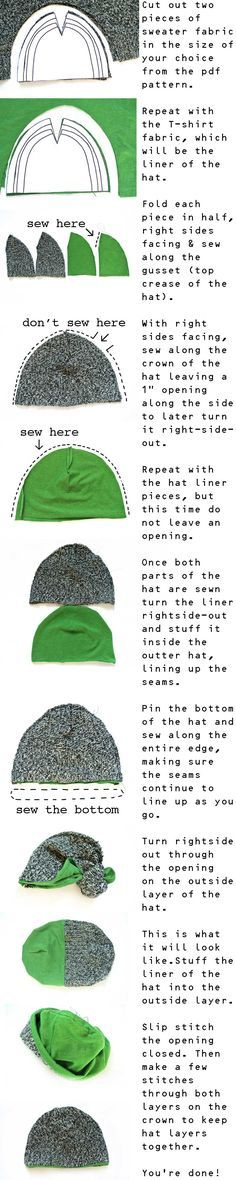 Here is a very simple tutorial to make cute hats from repurposed sweaters and T-shirts.