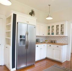 Kitchen Redo, Kitchen Pantry, New Kitchen, Kitchen Cabinets, Kitchen Tile, Narrow Kitchen, Glass Cabinets, Kitchen Corner, Kitchen Ideas