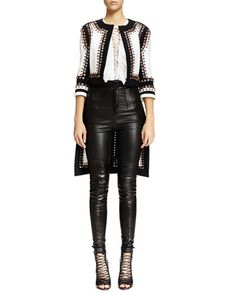 Givenchy| Nette Grommet Stitched Textured Jacket, Lace-Up Ruffled Bib Lace Top & High-Waist Skinny Leather Trouser| Neiman Marcus