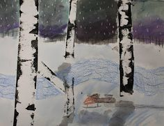 Art Room 104: Finished Winter Birch Trees