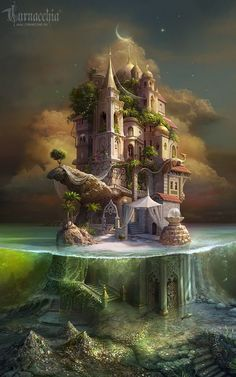 Just to put you in the mood for some fantasy reading or writing. a stunning illustration of a fairytale, fantasy castle. A mini-island refuge. Fantasy Places, Fantasy World, Fantasy Artwork, Fantasy Drawings, Fantasy Castle, Fantasy City, Fantasy House, Dark Fantasy, Wow Art