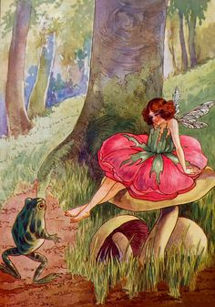 MISS Fairy Rose Has a Chat with Mr. Frog! Storybook Vintage Illustration. Digital Vintage Fairy Download. Digital Fairy Print