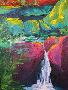 Creekside::48x36::Acrylic on Canvas The integrated swirls of unexpected colors in this painting make it one of my favorites!