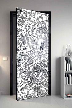 Painted Bedroom Doors, Painted Doors, Wall Painting Decor, Mural Wall Art, Door Design, Wall Design, Pintura Hippie, Graffiti Bedroom, Game Room Lighting