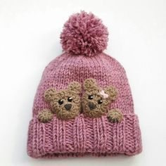 New design winter hat with teddy bear appliques. More colors available.