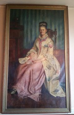 Portrait of Mrs. Elizabeth Orr Keith in the wedding gown her great-grandmother wore in 1740.  Painted by Francis Millet in 1876.  On display at the Old Bridgewater Historical Society's Memorial Building in West Bridgewater, MA.