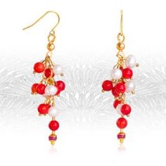 Item: 'Cluster' Earrings with Coral, Pearls and Rubies Brand: Regenz Metal Purity: Yellow Gold Gemstones: Co. Stone Jewelry, Pearl Jewelry, Pearl Necklace, Cluster Earrings, Drop Earrings, Sparkle, Jewels, Gemstones, Coral