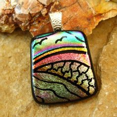 Dichroic Fused Glass Hand Etched  Pendant Fused Glass  by GlassCat, $32.50