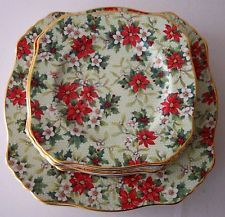 1995 Royal Winton Christmas Chintz Plates Lot Poinsettas Beautiful Set Dishes Co