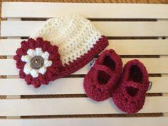 Cream and Red Baby Beanie with Large Flower & Mary Jane Booties to Match. Handmade, Crocheted. Made with Super Soft Yarn for Comfort $30.00