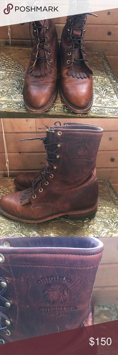 8.5 Original Chippewa leather combat boots *Not Frye* but very similar in quality and style! These are AMAZING and smell like what dreams are made of. Unfortunately they are a bit too big for me but they are certainly quality! Frye Shoes Combat & Moto Boots