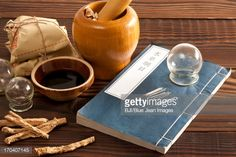 Stock Photo : Chinese medical herbs and medical instruments