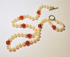 White freshwater round pearl and red jasper 18 necklace