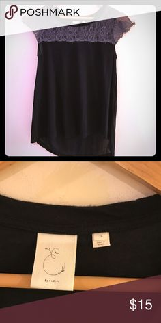 Anthro Black top with lace Excellent used condition Anthropologie Tops Tees - Short Sleeve