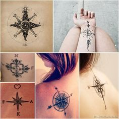 What does compass tattoo mean? We have compass tattoo ideas, designs, symbolism and we explain the meaning behind the tattoo. Tattoos Masculinas, Rosen Tattoos, Bild Tattoos, Body Art Tattoos, Tatoos, Camera Tattoos, White Tattoos, Arrow Tattoos, Piercing Tattoo
