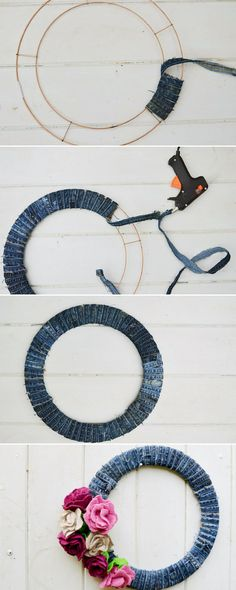 To Make A Denim Wreath With Felt Roses Putting together your recycled jeans wreath by adding the DIY sweater felt roses.Putting together your recycled jeans wreath by adding the DIY sweater felt roses. Wreath Crafts, Diy Wreath, Wreaths, Wreath Ideas, Felt Roses, Felt Flowers, Fabric Flowers, Fabric Crafts, Sewing Crafts