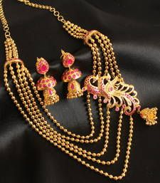 Buy Gorgeous  antique  pink  bridal peacock  short  haar set necklace-set online