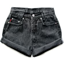 "ALL SIZES ""TURN"" Vintage Levi high-waisted denim shorts black cuffed... (€23) ❤ liked on Polyvore"