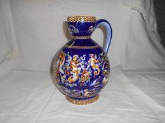 Pichet dit ventru  Gien decor renaissance italienne fond bleu