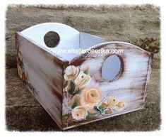 Decoupage Box, Decoupage Vintage, Wood Crates, Wood Boxes, Wood Box Decor, Craft Projects, Projects To Try, Altered Boxes, Mason Jar Crafts