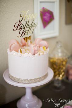 modern pink and gold birthday cake