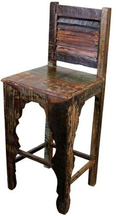 Mexican Iron And Leather Rustic Bar Stool Rustic