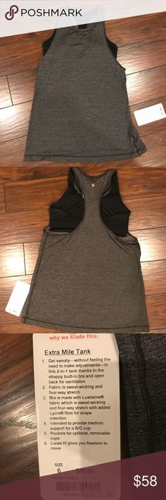 Lululemon Extra Mile Tank and Built In Sports Bra This bra is intended to support a B/C cup. Super cute top and sexy lululemon athletica Tops Tank Tops