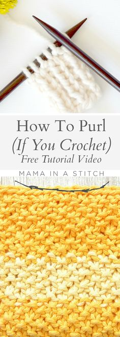 How To Purl (For Crocheters) via @MamaInAStitch This free tutorial will show you how to make the purl stitch using a method that's easy if you already crochet! # diy #crafts #knitting