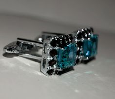 925 Sterling Silver Natural Blue Topaz and Natural by SimSimSilver