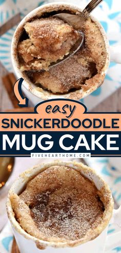 This cake recipe can be yours in under 5 minutes! With just a few basic ingredients, you can have a moist microwave mug cake that tastes like a snickerdoodle cookie. Such a quick and easy dessert to satisfy your sweet tooth! Mug Cookie Recipes, Best Mug Cake Recipes, Best Easy Dessert Recipes, Recipes Using Fruit, Easy To Make Desserts, Easy Delicious Recipes, Easy Desserts, Delicious Desserts, Cookie In A Mug