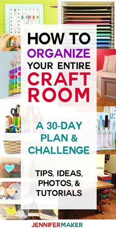 Organized Craft Room CHALLENGE Want to get control of your home and your life and your stuff again? How to Organize your Entire Craft Room - A plan and challenge! Scrapbook Organization, Sewing Room Organization, Studio Organization, Craft Room Storage, Organization Ideas, Storage Ideas, Craft Room Organizing, Organising, Organizing Life